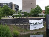 Blockupy-Banner vor dem Landtag Düsseldorf